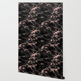Beautiful Black marble with Glittery Rose Gold Veins Wallpaper