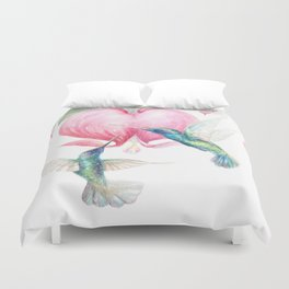 Bleeding Heart - watercolor hummingbirds and bleeding hearts Duvet Cover