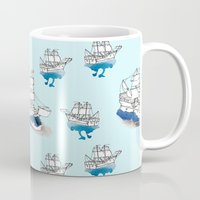 ships Mugs featuring Ships Pattern by Brooke Weeber