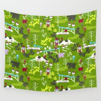 hiking Wall Tapestries featuring Hiking by misslin