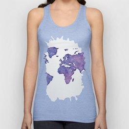 Purple World Map 02 Unisex Tank Top