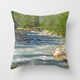 Mountain Creek Fir Trees Forest Landscape Throw Pillow
