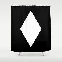 White Diamond ... Black Background Shower Curtain
