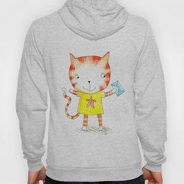 Ginger kitten watercolour Hoody