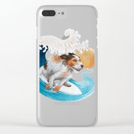 Surfing dog wave sea sun Clear iPhone Case
