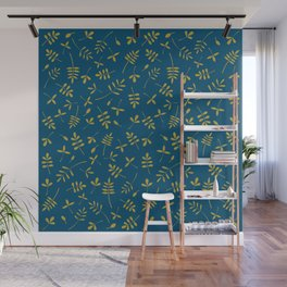 Gold Leaves Design on Teal Wall Mural