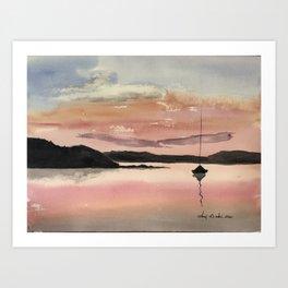 Rosy Maine Sunset Art Print
