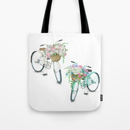 Two Vintage Bicycles With Flower Baskets Tote Bag