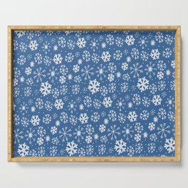 Snowflake Snowstorm With Sky Blue Background Serving Tray