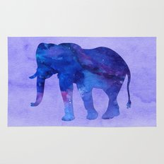 Blue Watercolor Elephant Rug