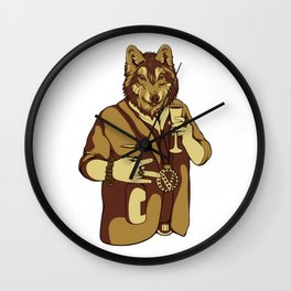 Sophisticated Wolf - having a drink Wall Clock