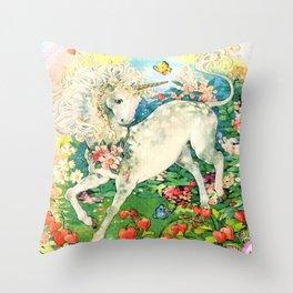 Rainbow Unicorn Garden Throw Pillow