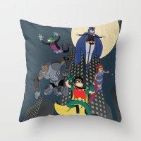 teen titans Throw Pillows featuring Teen Titans by Fuacka