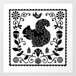 Woodland Folk Black And White Squirrel Tile Art Print