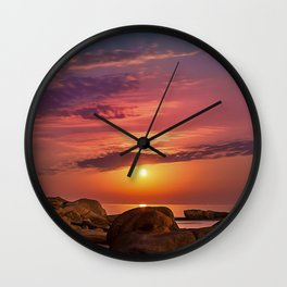"Magical landscape with clouds and the moon going up in the sky in ""La Costa Brava, Spain"" Wall Clock"