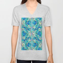 Seamless Wave Spiral Abstract Pattern Unisex V-Neck