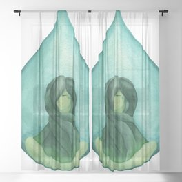Tear Drop-Turquoise Sheer Curtain