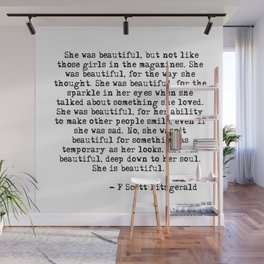 She was beautiful - Fitzgerald quote Wall Mural