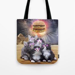 space cats looking for the burger Tote Bag