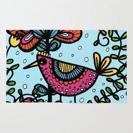 Weird and wonderful (Bird) - fun, bright flower and bird artwork Rug