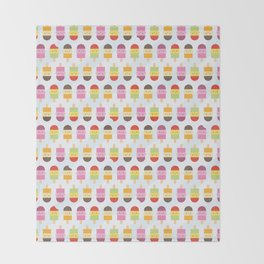 Kawaii Summer Ice Lollies / Popsicles Throw Blanket