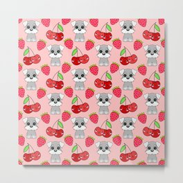 Cute little happy grey little baby Schnauzer puppies, yummy red sweet summer strawberries and funny Kawaii cherries pastel coral red fruity pattern design. Metal Print