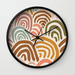 Rainbow Dreams | Vintage on Sand | Abstract Rainbow Wall Art Wall Clock