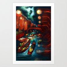 Chinese Moonlight Market Print Art Print