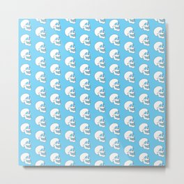 White Skull Pattern with Light Blue Background Metal Print
