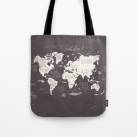 letters Tote Bags featuring The World Map by Mike Koubou
