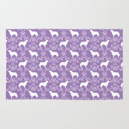 Golden Retriever floral silhouette dog silhouette lilac and white minimal basic dog lover art Rug