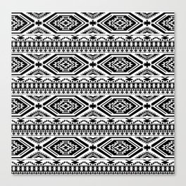 Aztec Geometric Print - Black Canvas Print
