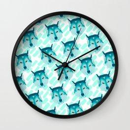 husky - wht pattern Wall Clock