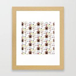 Jack Russell Dog Half Drop Repeat Pattern Framed Art Print