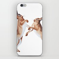 boxing iPhone & iPod Skins featuring Boxing Hares by ByKellyAttenborough