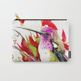 Little Hummingbird and Tropical Flowers Carry-All Pouch
