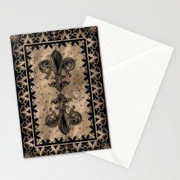Fleur-de-lis - Black and Gold Stationery Cards