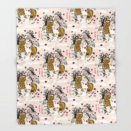 Tiger and Pug Japanese style Throw Blanket