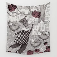 jackalope Wall Tapestries featuring Autumn Flight by Judith Clay