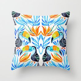 Tropical Toucans – Blue Leaves Throw Pillow