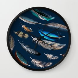Feather blue. In fashion. Trendy pattern Wall Clock
