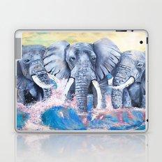 Elephants in crashing waves Laptop & iPad Skin