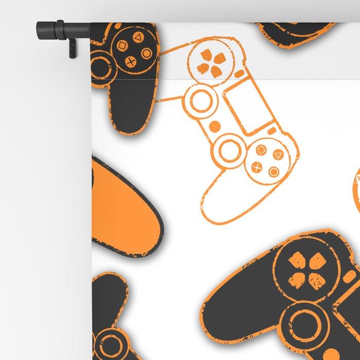 Video Games Orange on White Blackout Curtain