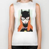 batgirl Biker Tanks featuring Batgirl by Matthew Bartlett