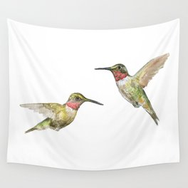 Ruby Throated Hummingbird Watercolor Wall Tapestry