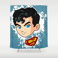 superman Shower Curtains featuring Superman by studio1six