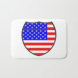 Stars And Stripes Flag In An Interstate Sign Bath Mat