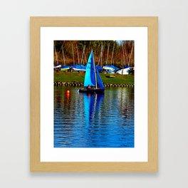 Little Blue Sailboat  Framed Art Print