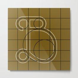 Mocha Script B Grid Metal Print