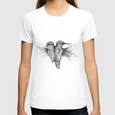 Conjoined Hummingbirds Womens Fitted Tee MEDIUM White